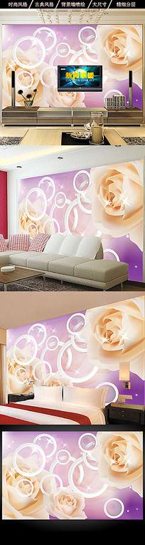 3D白色玫瑰花纹电视背景墙设计
