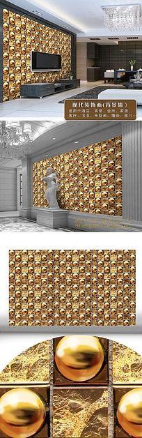辉煌金属立体圆球背景墙