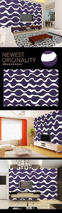 水波荡漾涟漪紫色背景墙