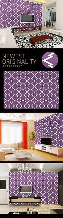现代抽象杉树紫色图案背景墙