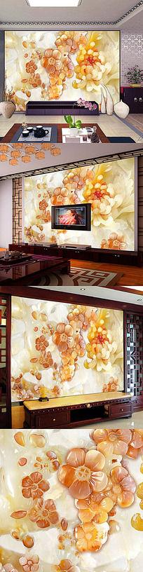 玉雕牡丹花开电视背景墙壁画
