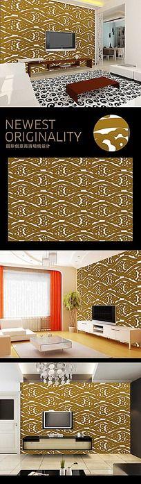 中国古典黄色祥云团电视墙背景