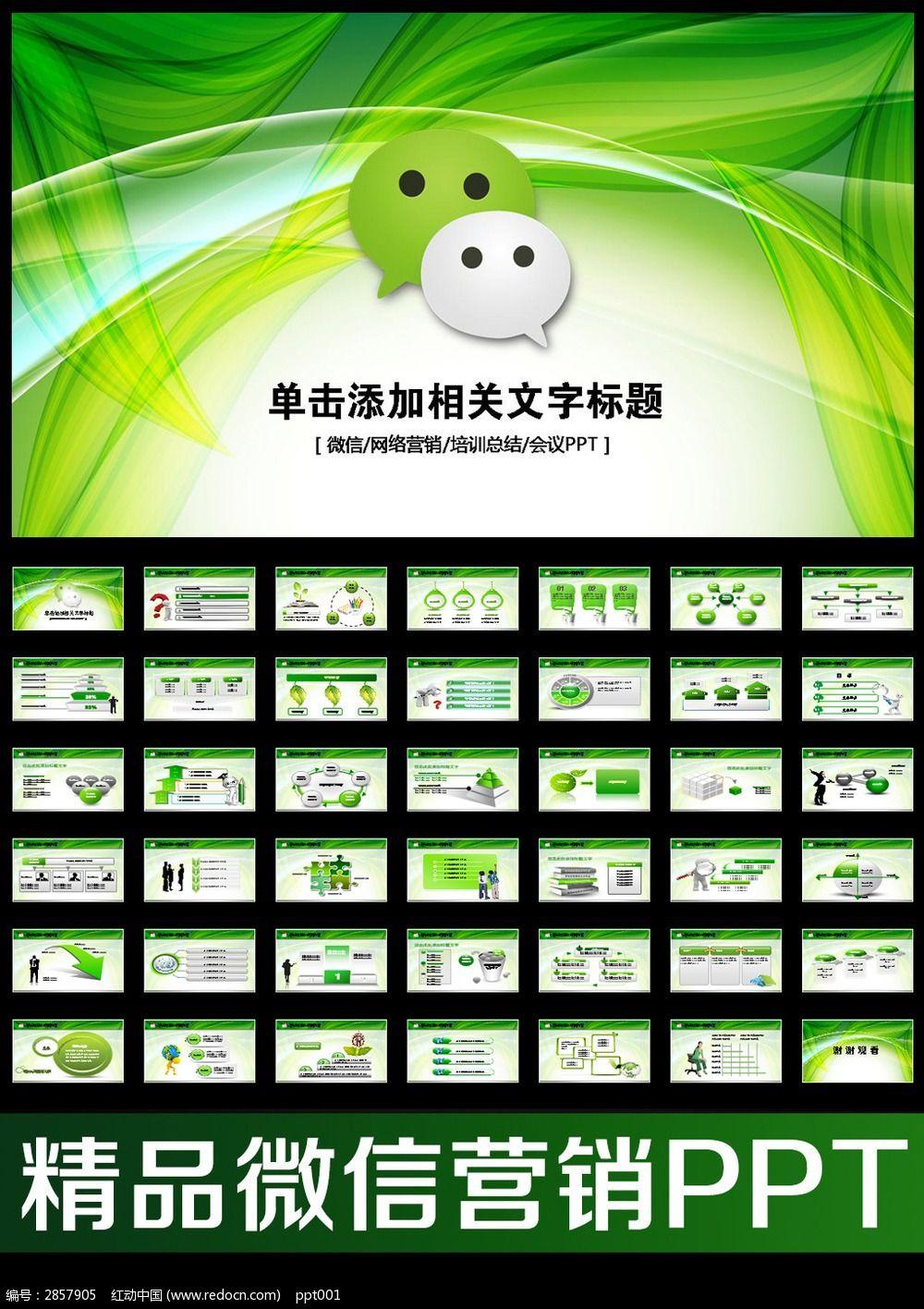 微信微网营销业绩报告动态PPT模板图片