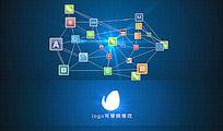 多图标网络科技连接logo演绎AE模板
