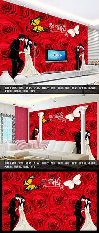 浪漫玫瑰花纹客厅电视背景墙