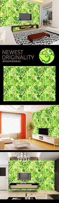 绿色田园清新物业花背景墙