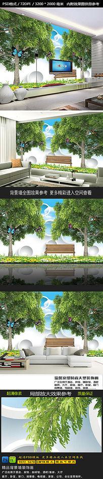春天大树3D电视背景墙
