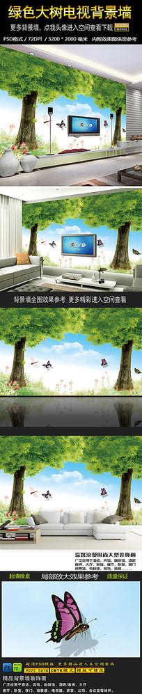 水彩画梦幻森林绿色电视背景墙