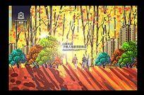 唯美晚枫园林地产手绘海报