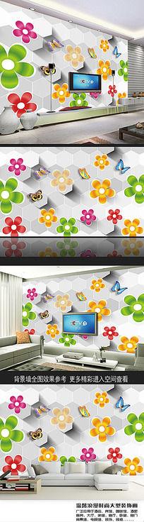 几何立体简约电视背景墙