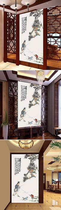 中国传统国画戏猴玄关背景墙