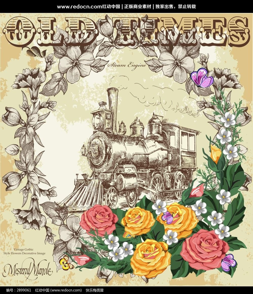欧式复古花朵装饰画设计