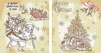 圣诞老人线描画装饰画无框画