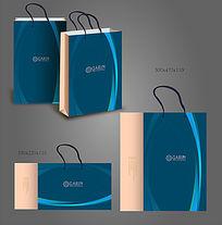 蓝色曲线手提袋