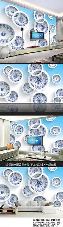 青花瓷碟立体电视背景墙