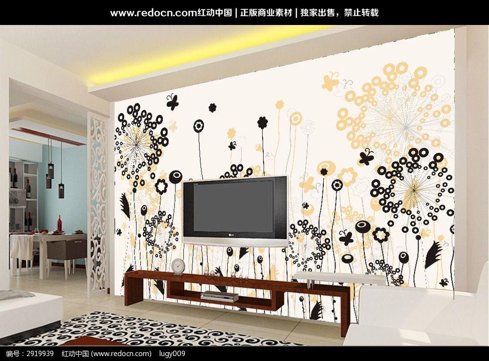 8款 梦幻花卉电视背景墙psd设计下载