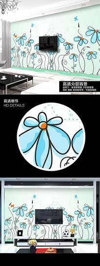 可爱手绘卡通戈花卉电视背景墙