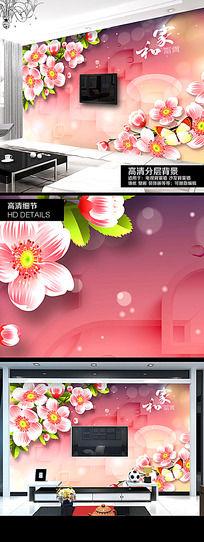 浪漫3D花朵电视背景墙