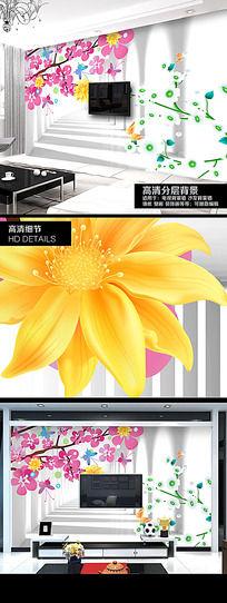 浪漫樱花3D电视背景墙