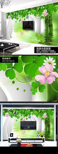 绿色环保养眼3D电视背景墙