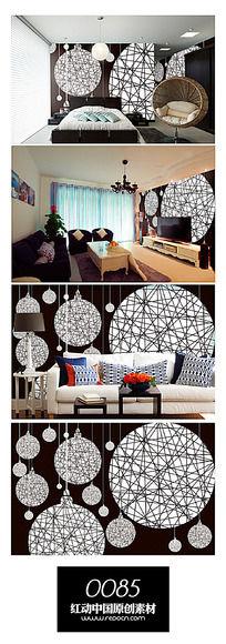 抽象吊灯线框背景墙图案设计