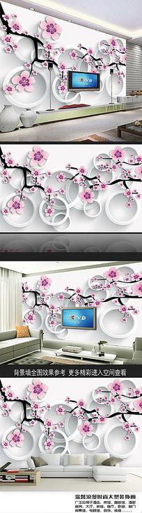 立体工笔画梅花3D电视背景墙 PSD