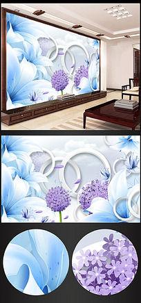 梦幻花朵立体3D电视背景墙