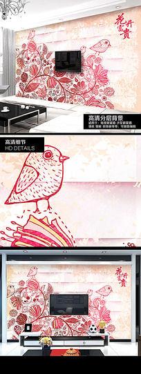 鸟语花香手绘电视背景墙