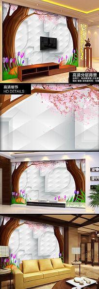 童话故事浪漫花朵3D背景墙