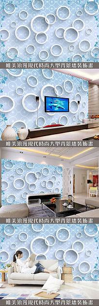 蓝色花纹底纹3D电视背景墙