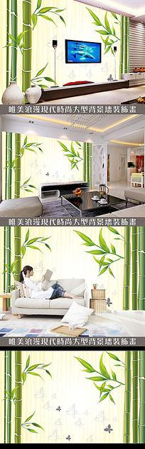 绿色竹子中式电视背景墙