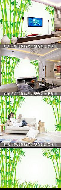 绿色竹子中式电视背景墙 PSD