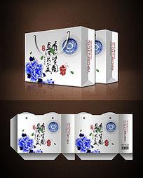 青花瓷茶叶包装手提袋素材