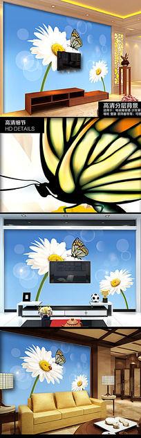 春季景色雏菊蝴蝶背景墙