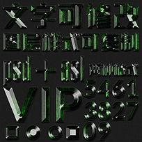 绿色水晶3D文字样式素材
