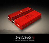 中国红传统养生包装盒设计 CDR