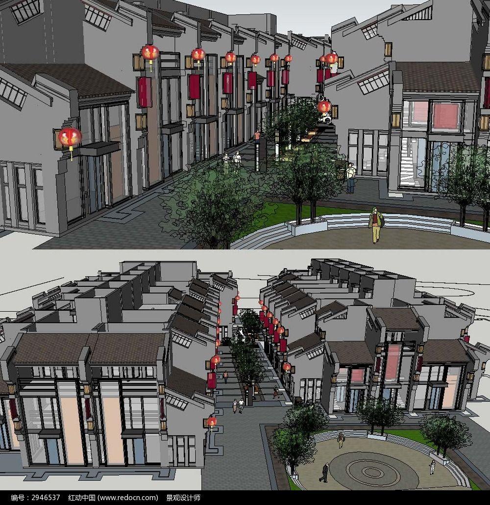 中式商业街草图大师su建筑模型图片