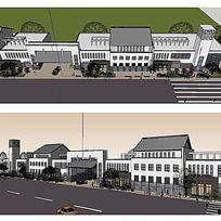 9款 中式商业街草图大师SU建筑模型设计下载