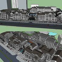 中式现代商业街SU模型