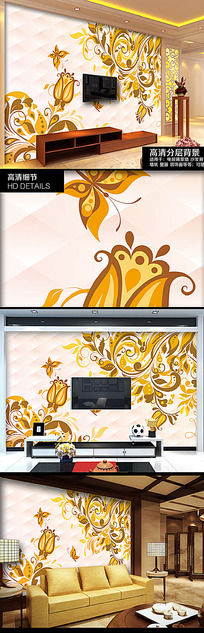 欧式花纹电视背景墙
