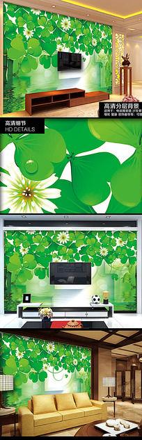 绿色清新四叶草电视背景墙