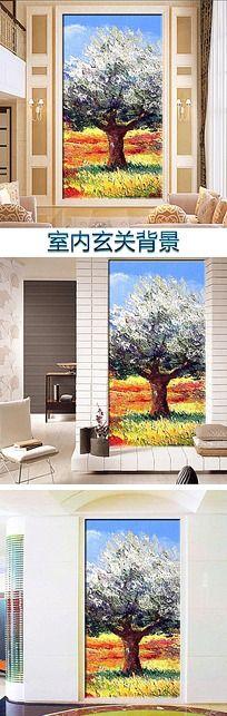 风景树木油画客厅玄关背景