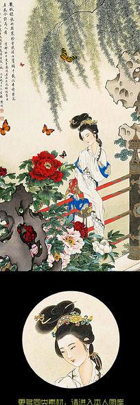 中国风水墨古典人物装饰画无框画