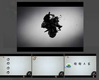 水墨中国茶道PPT模板带背景音乐