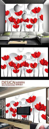 3D艺术花瓣电视背景墙设计