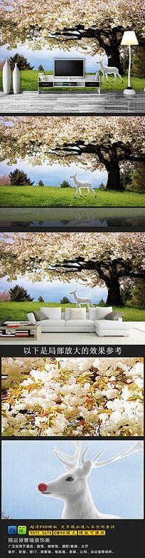 神鹿美丽风景电视背景墙