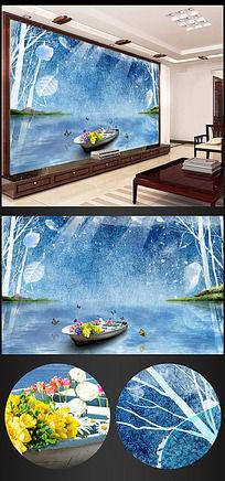 手绘水彩电视背景墙