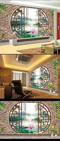 3D江南风情客厅电视背景墙