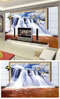 3D瀑布客厅电视背景墙