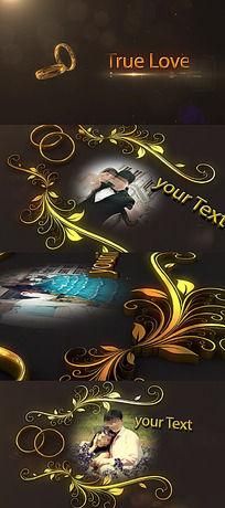 浪漫金色婚戒花纹边框相片展示ae模板